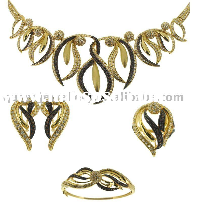 QF061 18k solid gold jewelry set