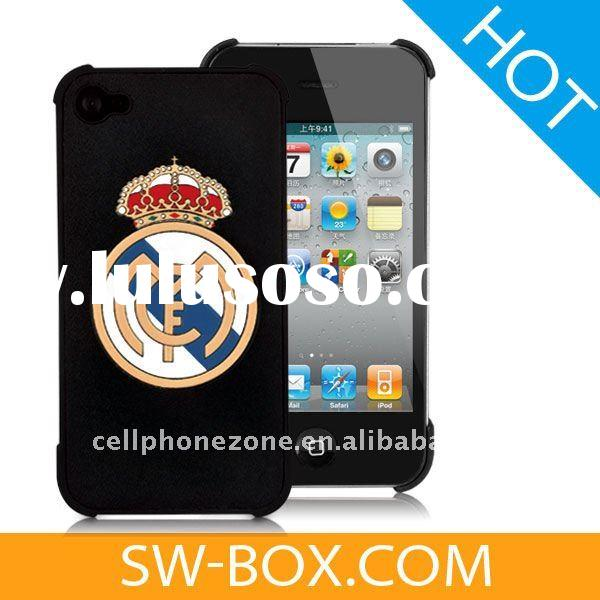 Real Madrid Logo Sealed Leather Covered Hard Case For iPhone 4 (Verizon, AT&T) - Black