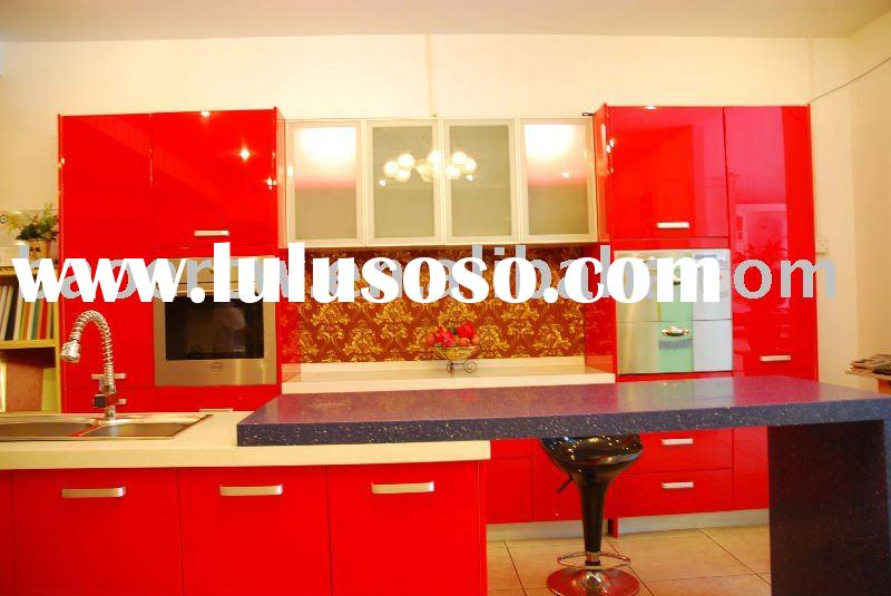 Red Lacquer/Bake-Painting kitchen cabinet