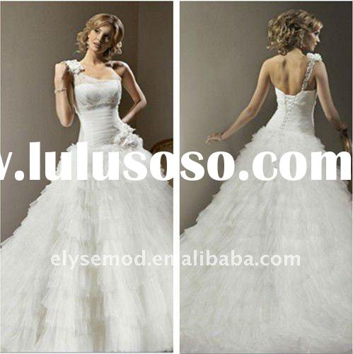 Romantic One Shoulder Strap Ball Gown White Chiffon Beautiful Wedding Dresses 8046