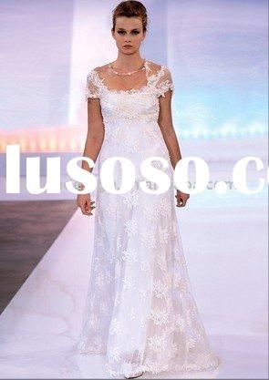 SWD1994 Latest style cap sleeve lace organza wedding dresses
