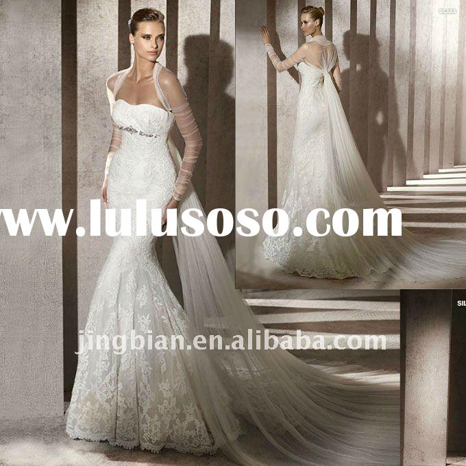 Satin Sweetheart Fashion Wedding Dress with Long Veil and Mermaid Lace Train 2012 Glamour Designs W1