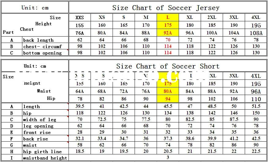 Size Chart for Soccer Jersey