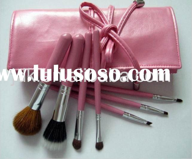 Soft artificial leather bag with 7pcs makeup brushes