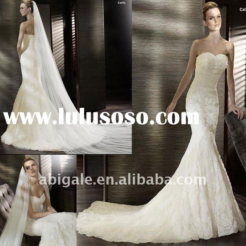 Strapless Sweetheart Mermaid Cathedral train Lace Wedding Dress Gown(PN10119)