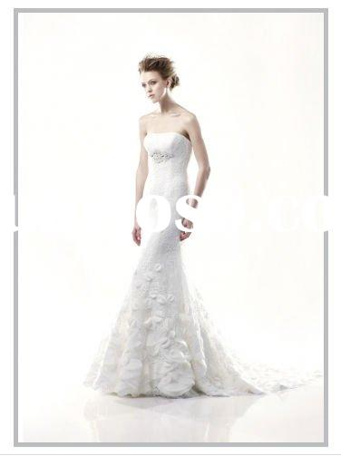 Strapless mermaid lace bodice with jewel encrusted empire skirt wedding dress