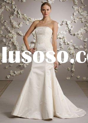 Style RZ-wd064 elegant strapless lace appliqued mermaid wedding dress 2012