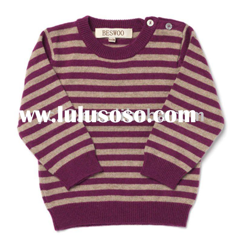 Sweater Designs for Kids: Round Neck Long Sleeve 100% Cashmere