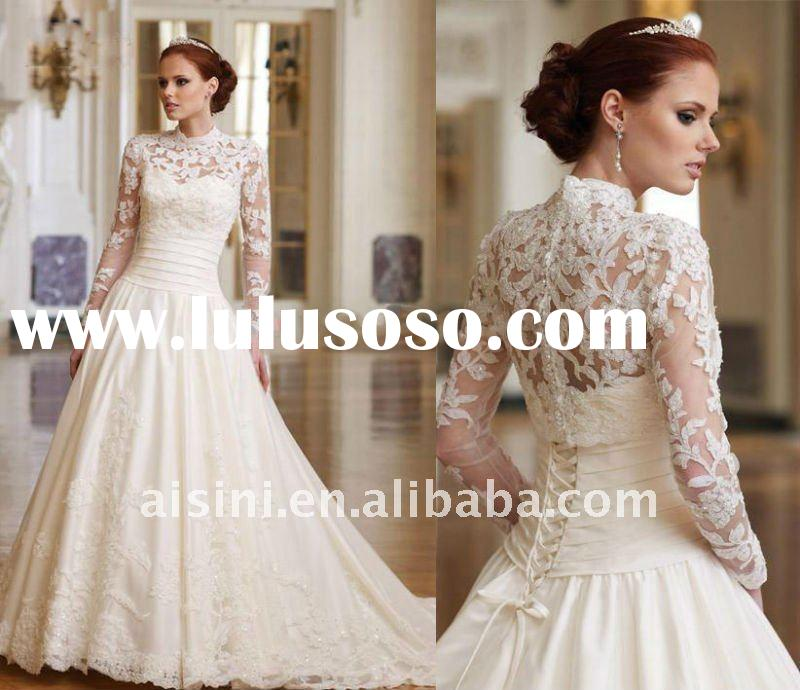 Sweetheart Strapless 2012 Lace Long Sleeve Corset newest wedding dress