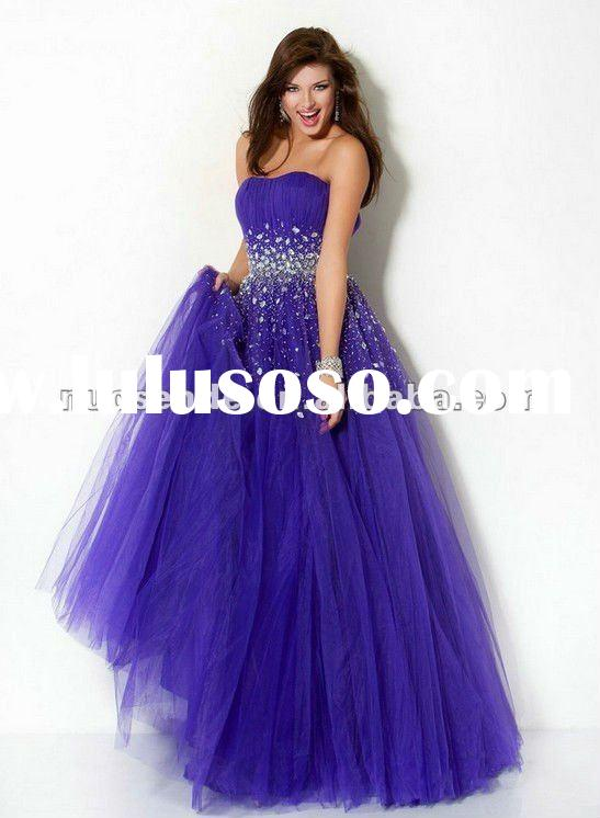 Tulle Strapless Prom Dress for Girls with Diamants