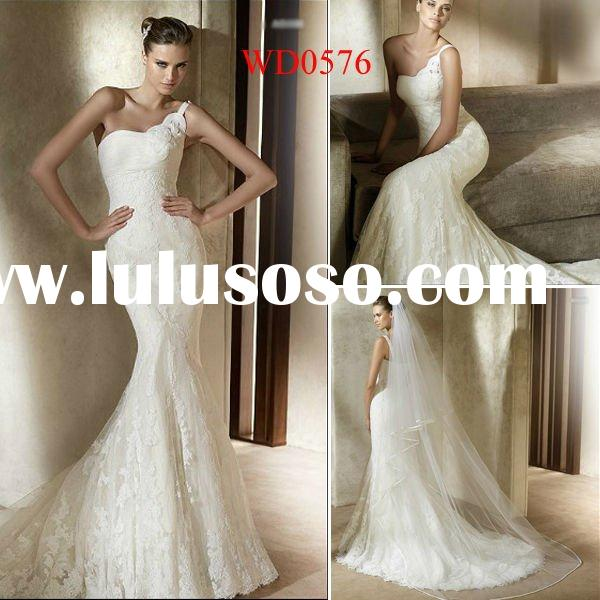 WD0576 Mermaid Ivory Fully Lace One-Shoulder Ukraine Wedding Dress