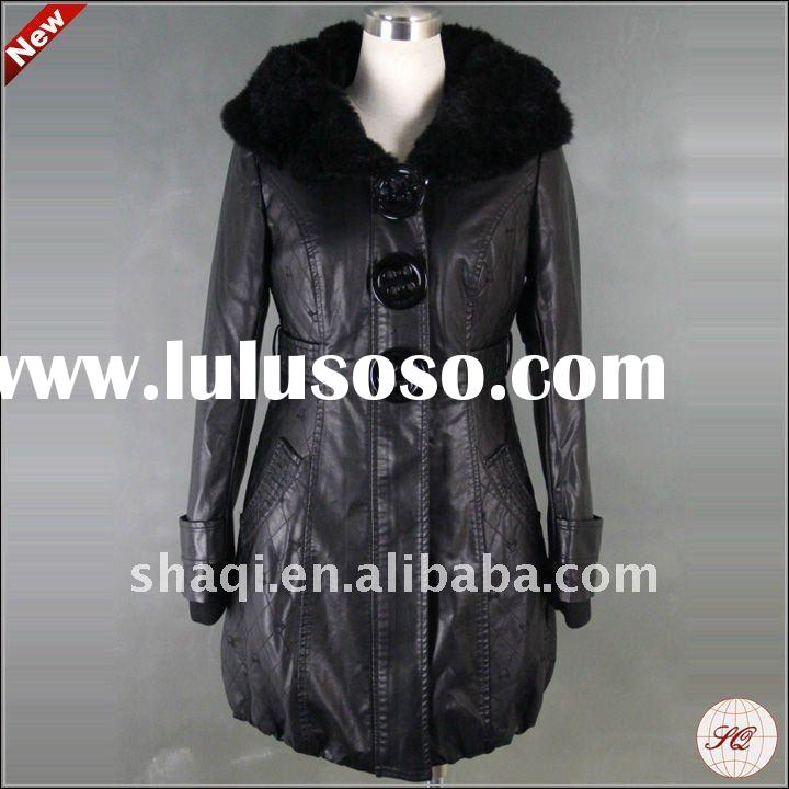 Western style PU long leather coat for women