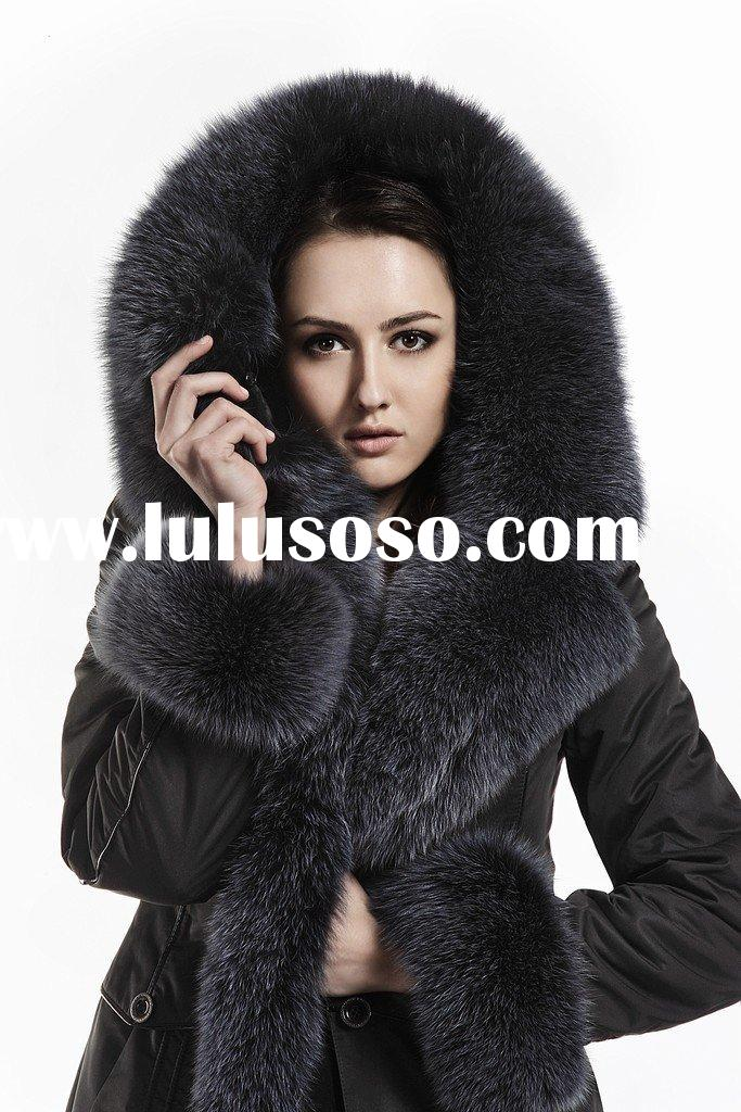 Women fur garment with fox collar and cuffs