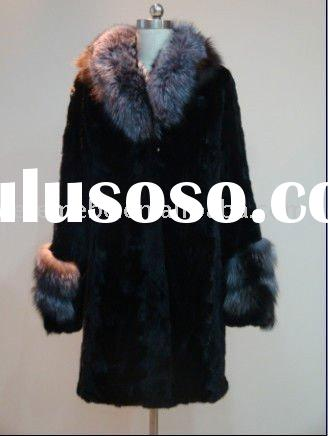 Women mink fur coat with fox collar and cuffs