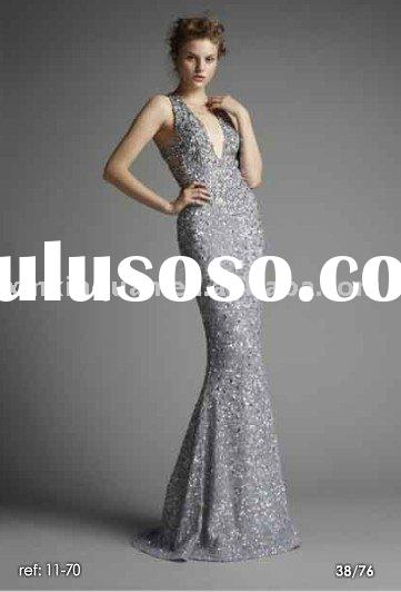 ZS021 Spring summer 2011 fully jeweled deep V-neckline mermaid silvery grey evening dresses