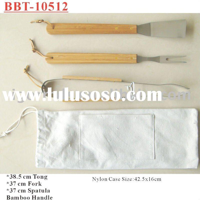 (BBT-10512) 3 Pcs BBQ Tool Set with Bamboo Handle in Nylon Carrying Bag