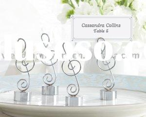 """Love Songs"" Silver-Finish Music Note Place Card/Photo Holder"