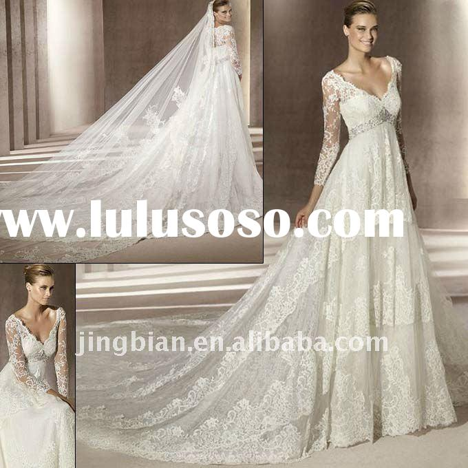 (VI874) Long Sleeve Lace With Cathedral Train Bridal Gown