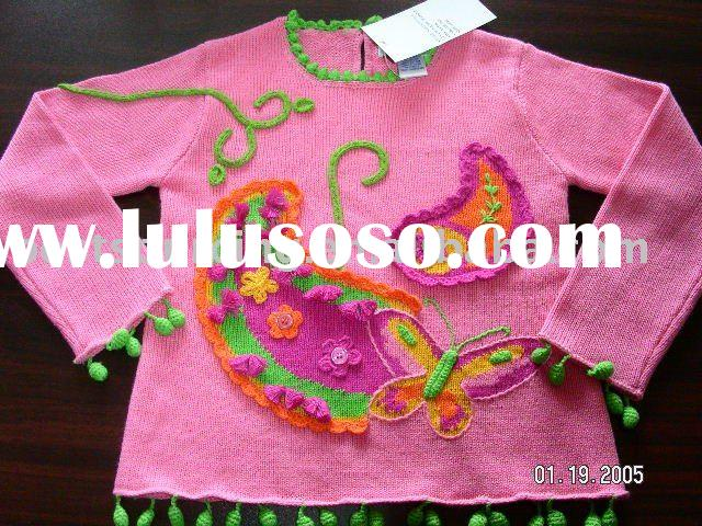 beautiful girl's brand clothing 7gg intarsia paisley cotton children sweater infant & to
