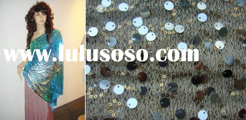 big and small sequins on mesh fabric