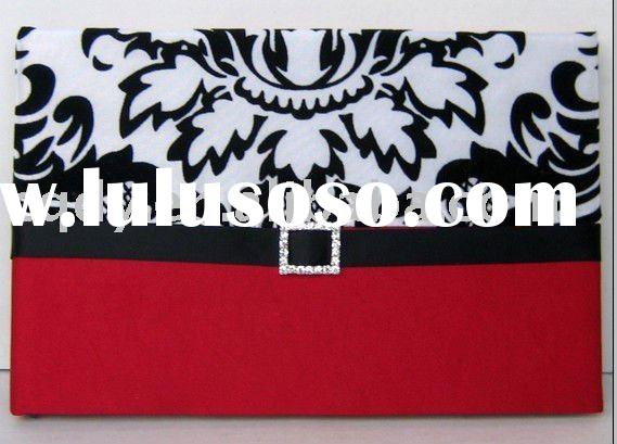 black and red flocking Promotional Wedding guest book/Wedding decoration & gift /wedding favor