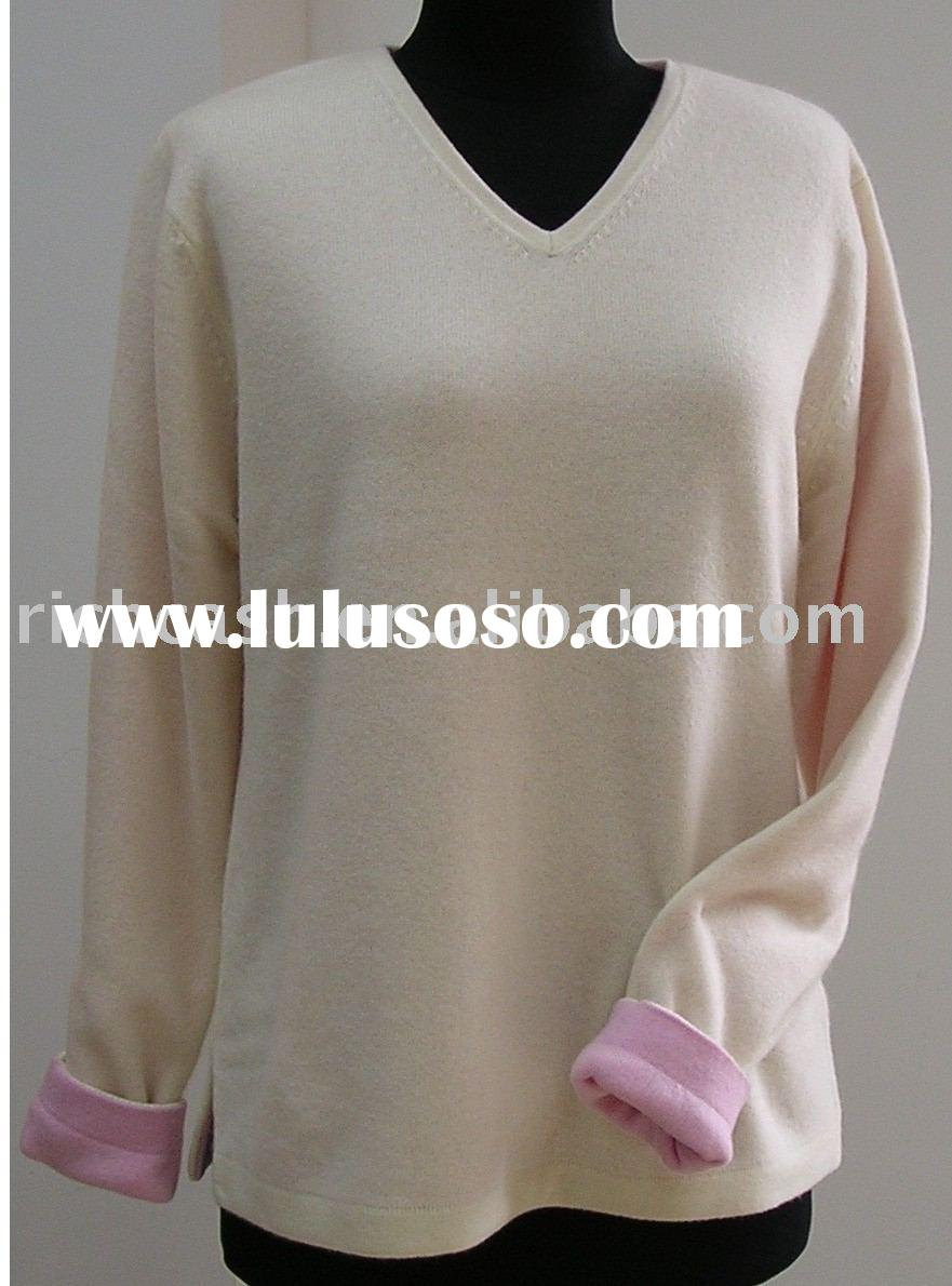 cashmere sweater ladies v neck reversible