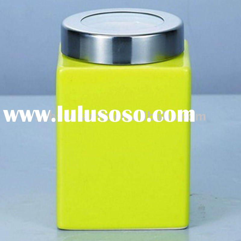 ceramic canister with stainless steel airproof lid