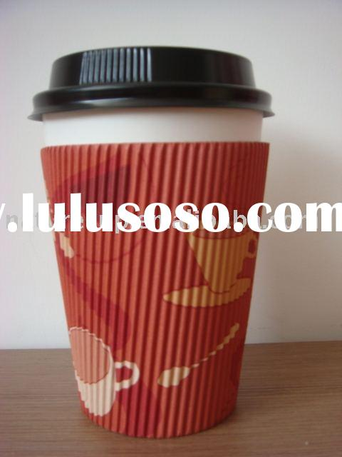 coffee paper cup with lid and sleeve