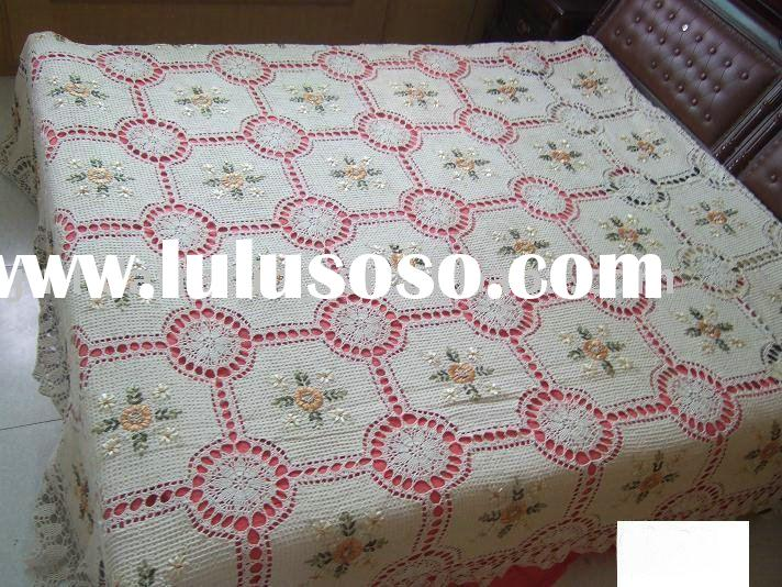 crochet bed cover with embroidered patchwork, crochet bedspread