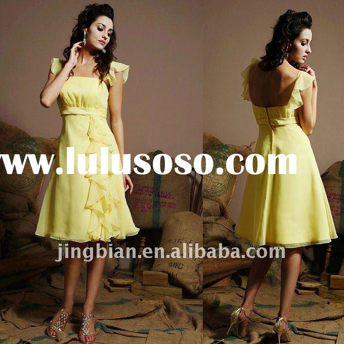empire waist Beautifully Chiffon ruffled flutter sleeves knee-length gown Bridesmaid Dress SH945