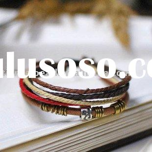 fashion genuine leather wax cord bracelet ornament decorations accessories China Tibetan handmade