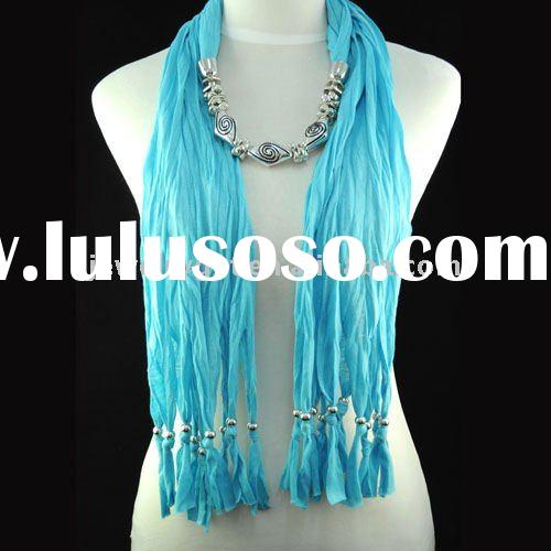 free shipping, jewel beads pendant scarf necklace ,women's winter long scarves ,NL-1335B
