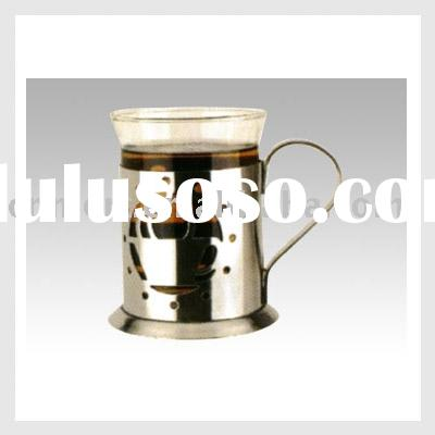 glass coffee cup with stainless steel holder
