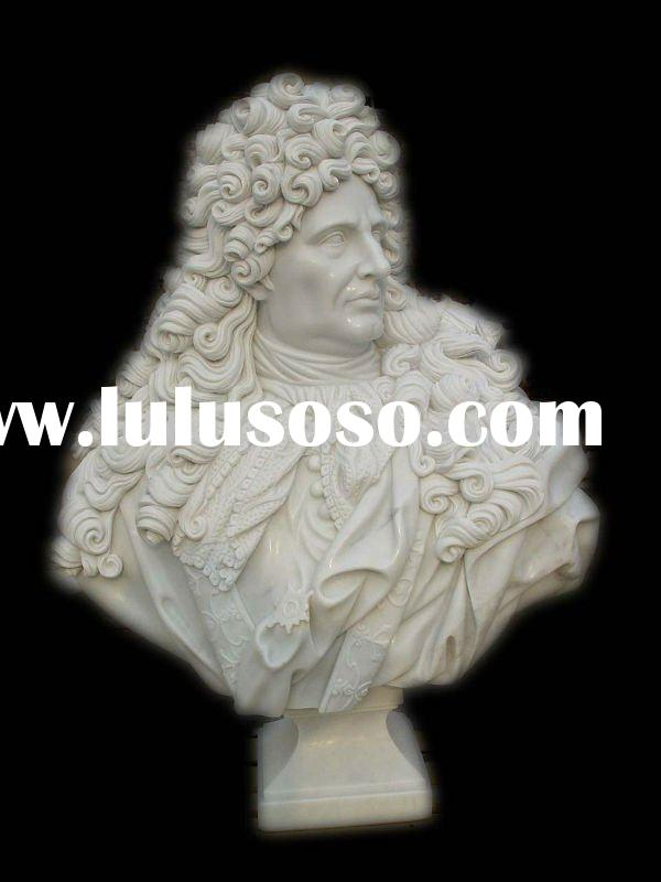hand carved stone statue, bust statue, white marble statue