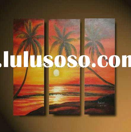 hand painted beautiful palm tree seascenery oil painting for home decoration