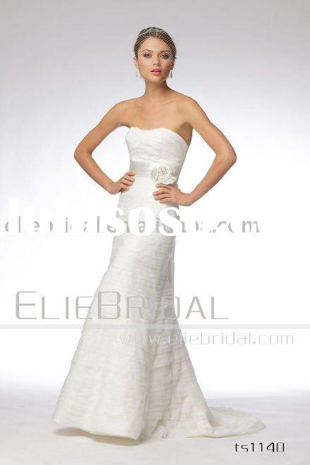 lace dropped waist one flower strap wedding dress