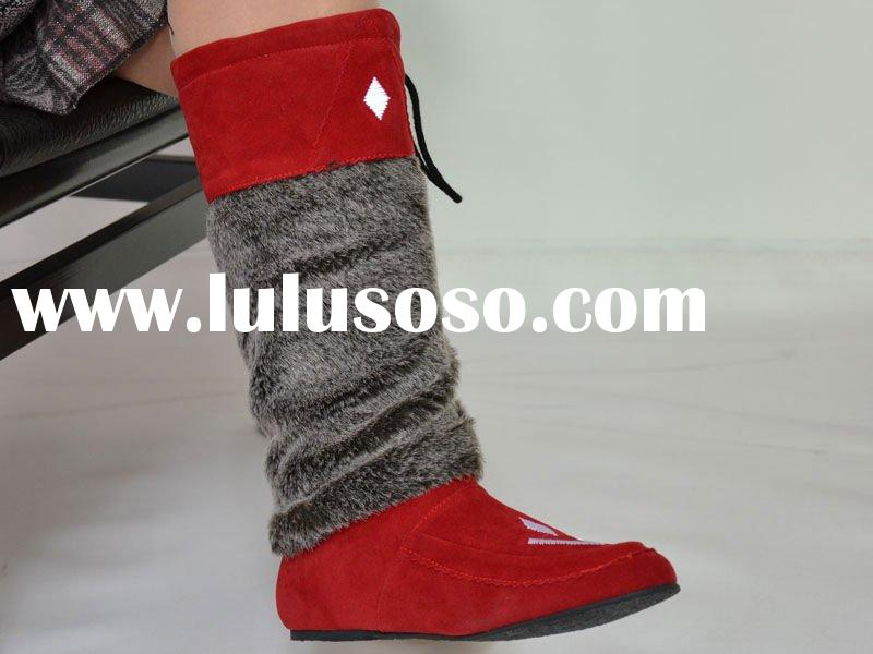 ladies red leather boots