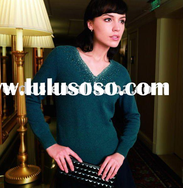 ladies' v neck decorative cashmere sweater