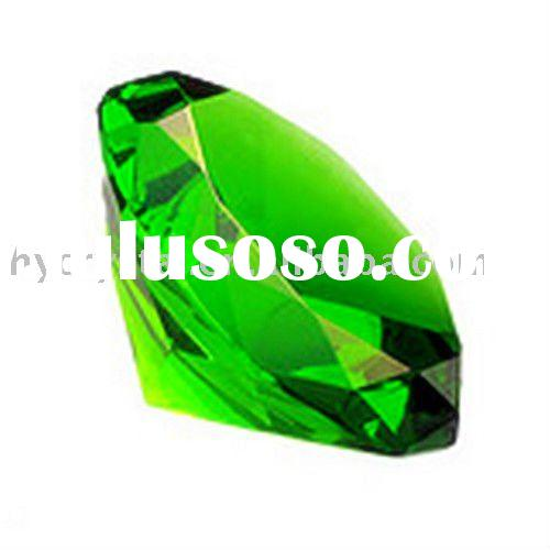 large green machine cut crystal glass diamond