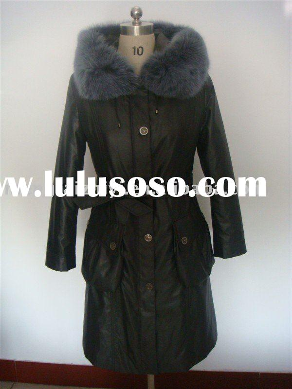 leather jacket women leather jacket with rabbit fur lining & fox fur collar