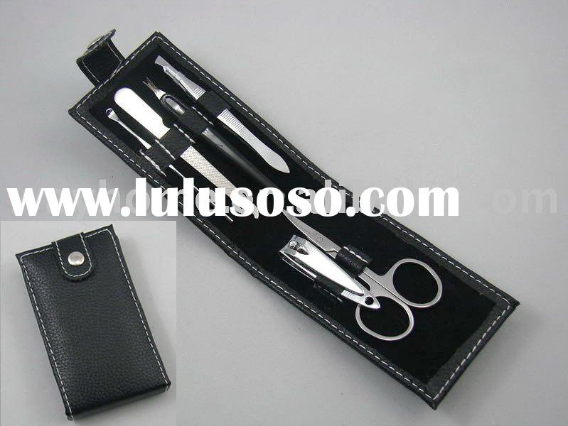 manicure set, portable leather pouch kit,promotion gift