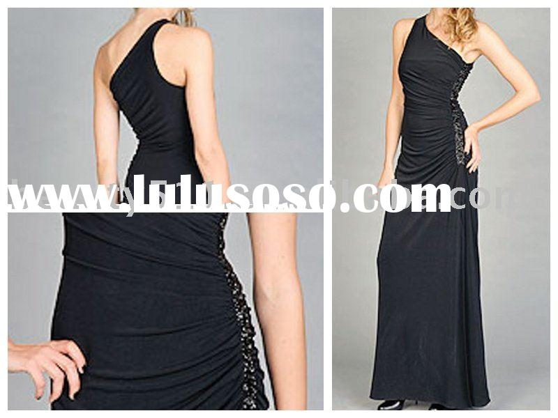 new style one shoulder black evening dress, evening gown MR-3-0031