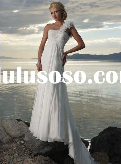 new style one shoulder chiffon beach wedding dresses