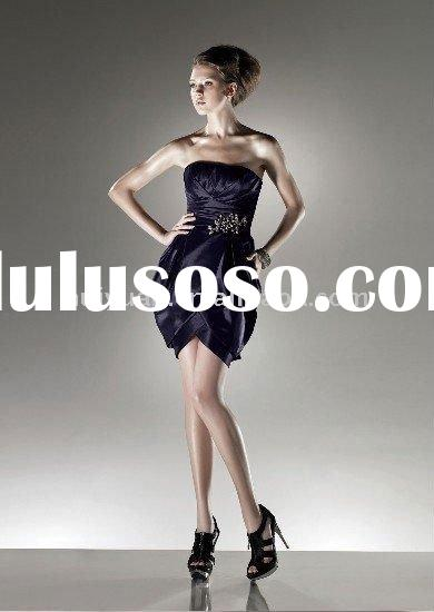 off shoulder short evening dress 2012 dark blue