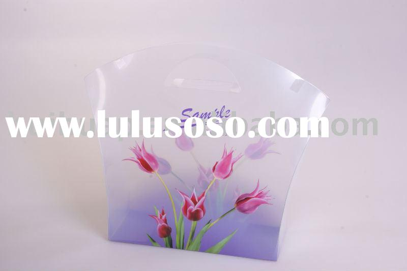 plastic bag,the fashionable transparent gift bag with handle.