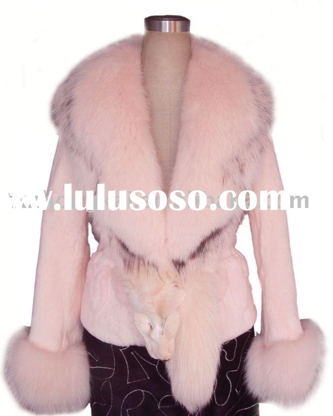 rabbit fur coat with fox fur collar and cuff