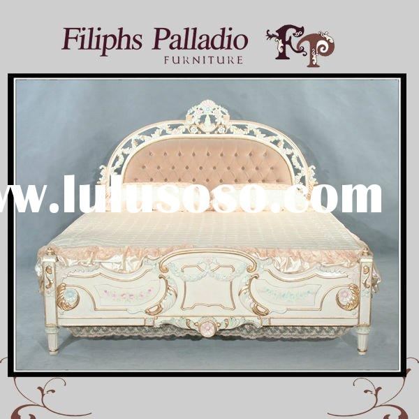royal luxury bedroom furniture - hand carved royalty cracking paint bed