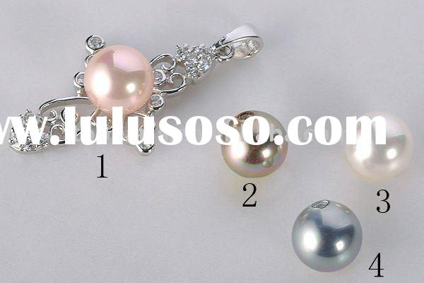 shell pearl and rhinestones 925 sterling silver cross pendant SPJ162