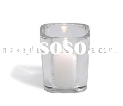 square glass cup for candle/glass votive holder/glass tealight holder