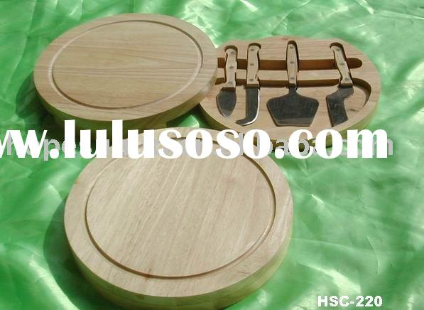 swivel-style circular cheese board with cheese knife set